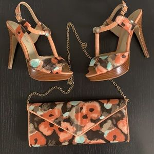 Aldo satin floral pumps with matching clutch